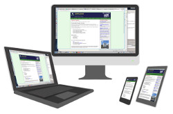 responsive design image, 4 devices, same website on each